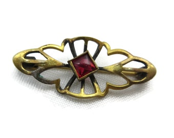 Ruby Red Glass Brooch - Vintage Edwardian Costume Jewelry, Gold Filigree