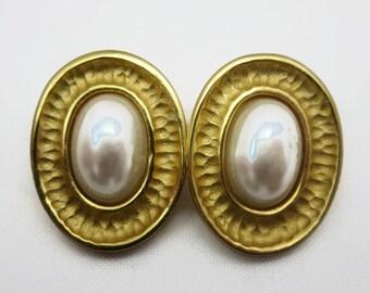 Givenchy Earrings - Gold Tone, Clip Earrings, Faux Pearl, Retro, Designer Jewelry, Costume Jewelry Vintage Earrings for Women
