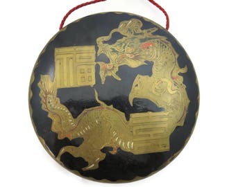 Japanese Gong - Gold Dragon - Brass