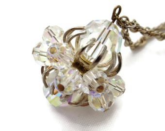 AB Crystal Necklace - Costume Jewelry, Beaded Cluster Pendant