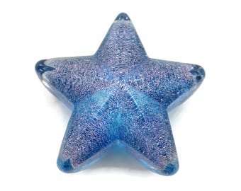 Art Glass Paperweight - Robert Held Star Starfish Blue with Purple Foil Sparkles in Cased Glass