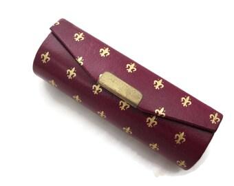 Lipstick Case with Mirror - Red Leather Gold Tooled Fleur de Lys Italian Fleur de Lis