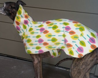Whippet jacket, spring leaves, yellows, pinks, oranges