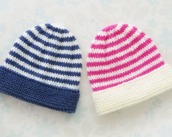 PREEMIE HAT - to fit 30 to 42 week (3 - 8 lb) baby - NICU Kangaroo Care - baby yarn in stripes of denim blue and ivory or ivory and hot pink