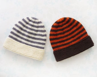 NICU BABY HAT - to fit 30 to 42 week (3 - 8 lb) baby - Kangaroo Care - baby yarn in stripes of cream and grey or dark brown and orange