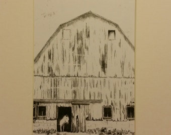 Graphite Print Old Barn and Horse.  5x7 matted
