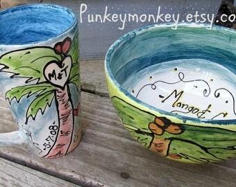 Personalized custom mug and bowl Set custom ice cream bowl custom popcorn bowl custom snack bowl custom cereal bowl custom chowder soup bowl