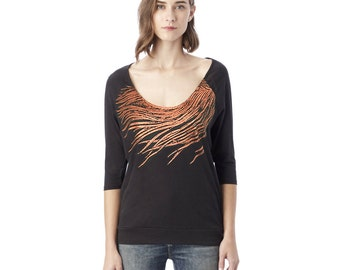 Raglan 3/4 Sleeve T shirt Top - Shimmer Metallic Copper Feather Print
