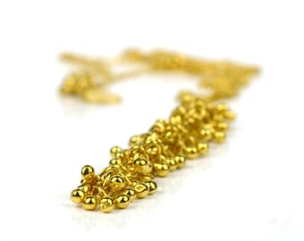 Gold vermeil long drop necklace, gold vermeil bubble necklace, bubble drop necklace, long gold vermeil necklace, Shimmer Collection