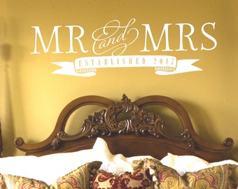 Mr and Mrs Wall Decal - Master Bedroom Wall Decor - Established Date Decal