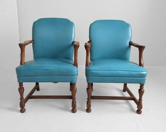 vintage TURQUOISE faux leather & nail head walnut arm chairs