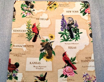 STATE BIRDS and FLOWERS Microwave Potato Bag, for microwave cooking, potato bag, housewarming, gifts, birthday, holiday