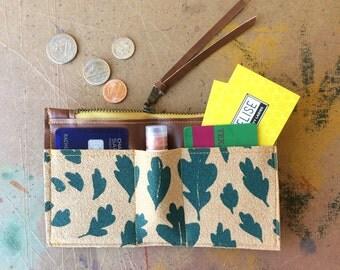 zip wallet • leaf print wallet - coin purse zipper wallet • teal hand screenprinted leaf print - slim wallet - fall style • native