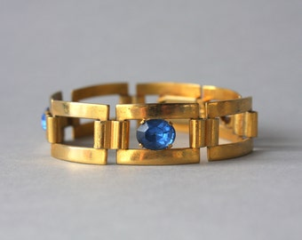 1920s Bracelet / Vintage 20s Sapphire Glass Bracelet / 1920s French Art Deco Panel Bracelet