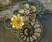 Dark Swirls Ammonite and Flower Pendant