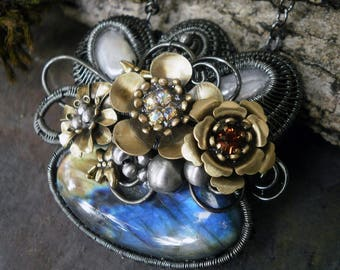 Labradorite and Pearl Pendant with Flowers and Dragonflies