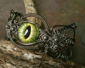 Gothic Steampunk Green Eye Renaissance Bracelet Size 7 to 8 Adjustable