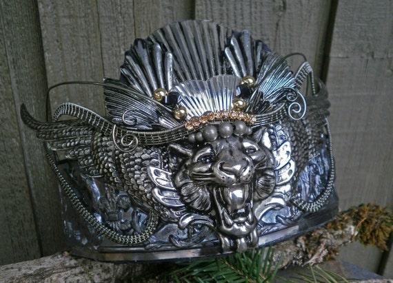 Gothic Steampunk Wing Lion Crown Headpiece