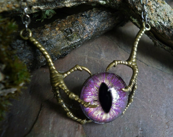 Gothic Steampunk Raven Claw With Pinky Purple Eye