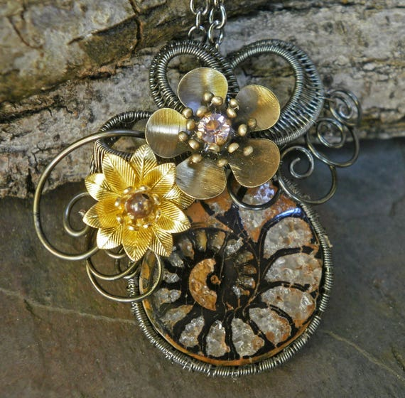 Dark Swirls Ammonite and Flower Pendant
