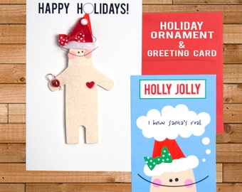 "Holiday Ornament and Christmas Card, Holly Jolly, ""Let's Hear it for Christmas Spirit!"", 5"" x 8"""