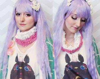 kawaii cute pink and white cowl headband crochet