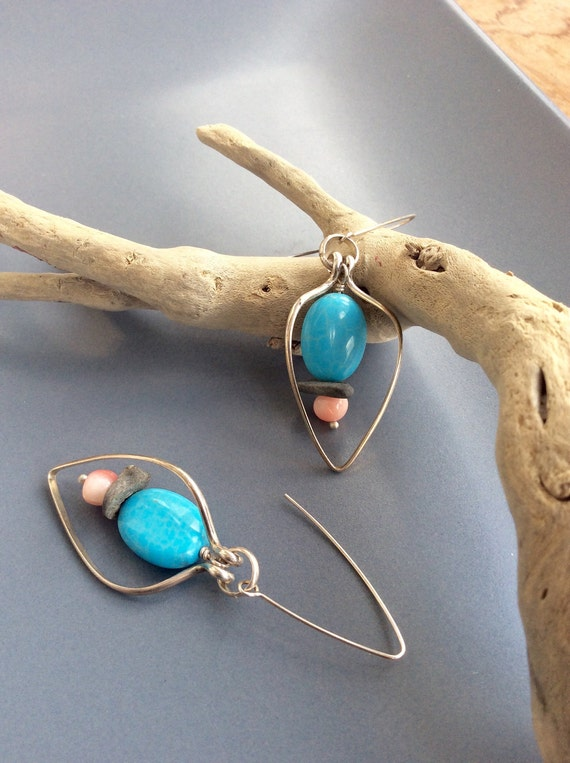 Sterling Silver Earrings with Turquoise, Coral and Beach Stone