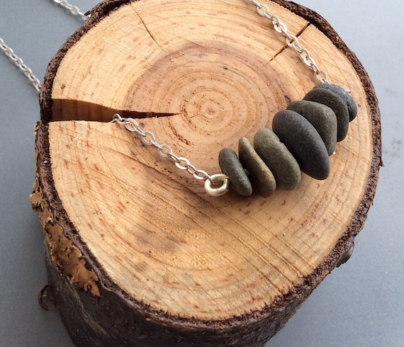 Sterling Silver and Beach Stone Necklace