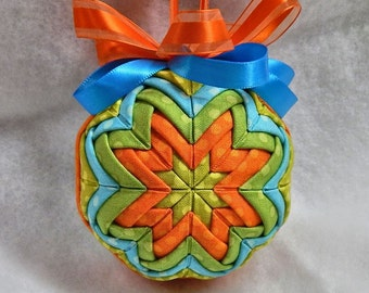 Colorful Quilted Ornament - Green/Blue/Orange