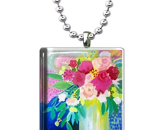 Colorful Bright and Cheery Floral Art Glass Pendant, Glass Art Necklace, Hand Made Jewelry for Women