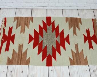 Vintage Red Tan Navajo Woven Rug
