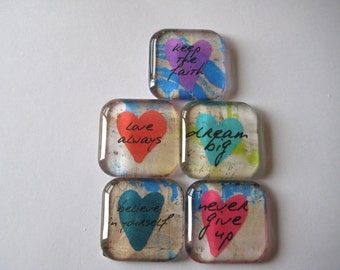 Inpirational Word Phrases Square Glass Magnets Set of 5