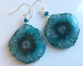Apatite Stalactite Solar Quartz earrings, ONE OF A KIND #2 version