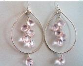 15% OFF sale, Morganite Pink Quartz Earrings, Double Decker Hoops, Morganite quartz, Pink hammered hoops, gemstone earrings, light pink earr