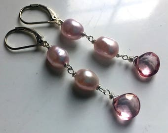 Pink Pearl Trio Dangle Earrings, Sterling, Gold, or Rose Gold