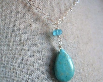 20% OFF, Amazonite and Apatite Necklace, Bit of Blue, Gemstone necklace, Blue necklace, Gift idea, Pendant necklace