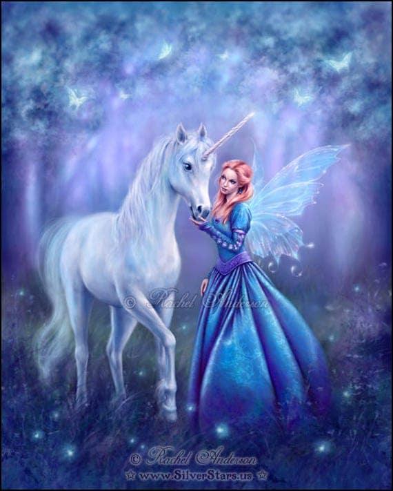 Rhiannon Unicorn & Fairy Painting by Rachel Anderson