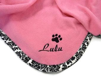 Pet  Blanket  Personalized  Pink Black Damask