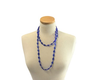 Glass Cobalt Bead Necklace | Long Double Loop | Vintage Jewelry | Retro Fashion