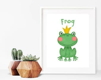 INSTANT DOWNLOAD - Frog Prince Art Print - cute and quirky printable - great for nursery, kids and as a gift