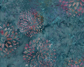 Hoffman Bali Batik HOF 714 Slate Pink Zinnias By The Yard