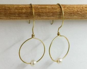 Pearl and Brass Hoop Earrings