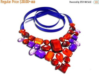 ON SALE Red and Purple Rhinestone Bib Necklace, On Sale Statement Necklace, Discount Bib Necklace, Red Bib Necklace, Red Statement Necklace