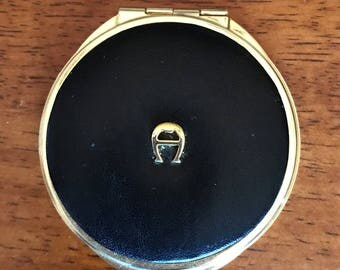 Vintage Etienne Aigner Compact Mirror Black Leather and Gold Metal Mirror Accessories