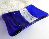 Fused Glass Soap Dish in Dark Cobalt Blue