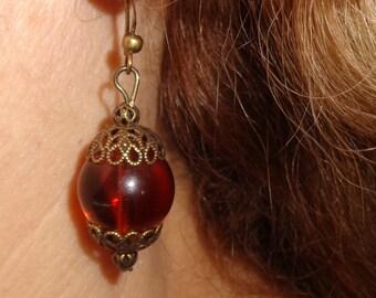 Amber glass earrings, boho dangle earrings, brass rustic earrings, amber earrings, bohemian jewelry, amber glass jewelry, brass jewelry