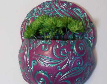 Fushia and teal pocket planter magnet with silver curls and swirls: refrigerator or office magnet decorative pot