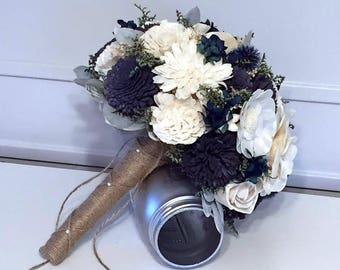 Navy and Ivory Wedding Bouquet made with sola flowers - choose colors - bridal bouquet - Alternative bouquet - bridesmaids bouquet