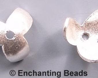 Karen Hill Tribe Silver Petal Bead Caps T463 (6), Simple Silver Bead Caps, Shiny Silver Bead Caps, Simple Bead Caps