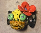 RESERVED FOR LORRAINE:  Ceramic monkey mask, day of the dead,  wall hanging
